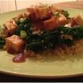 Chilli-Glazed Tofu with Garlic Kale and Quinoa, a vegan delight.