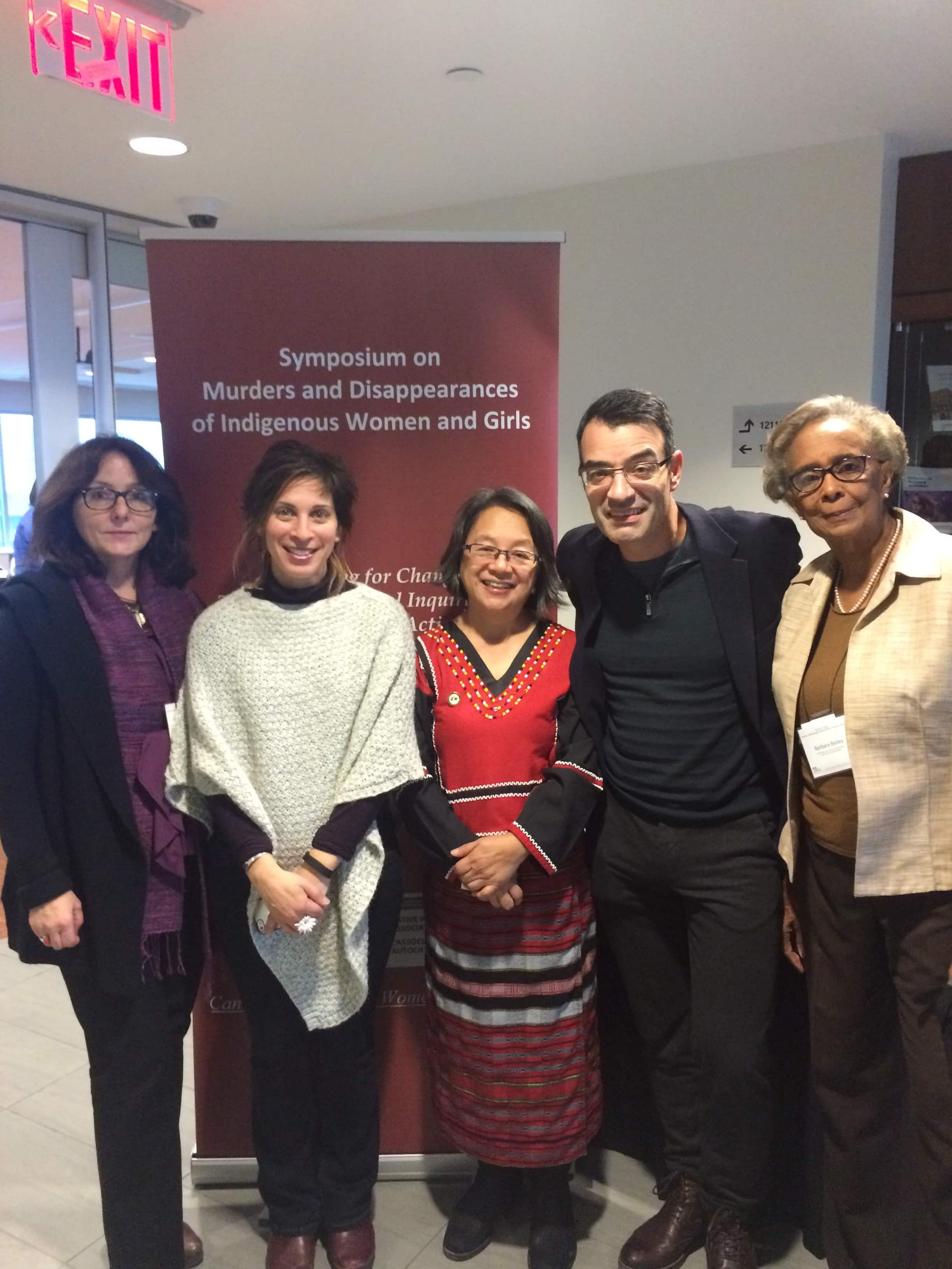 """United Nations and Inter-American Commission representatives at the Symposium, """"Planning for Change: Towards a National Inquiry and An Effective National Action Plan"""", Ottawa, January 30-31, 2016. Left to right: UN Special Rapporteur on violence against women, its causes and consequences, Dubravka Šimonović; UN Special Rapporteur on the right to adequate housing, Leilani Farha; UN Special Rapporteur on the rights of Indigenous peoples, Victoria Tauli-Corpuz; Chair of the Inter-American Commission on Human Rights and Rapporteur for Canada, James Cavallaro; and Vice-Chair of the UN Committee on the Elimination of Discrimination against Women (CEDAW), Barbara Bailey (absent: Member of the CEDAW Committee and Chair of the Working Group on Follow-up to Inquiries, Ruth Halperin-Kaddari). (Photo Credit: Lara Koerner Yeo)"""