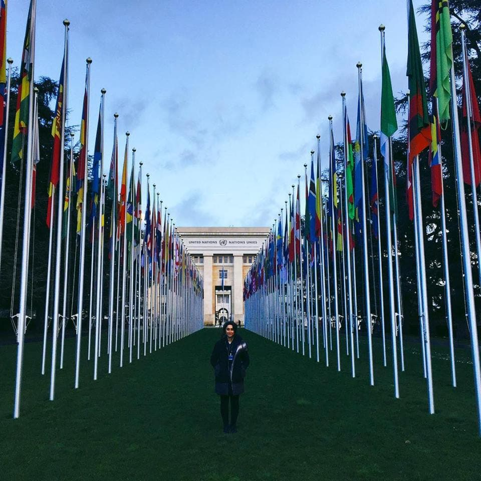 Rona Ghanbari outside of the United Nations Headquarters in Geneva, Switzerland - March 2016. (Photo credit: Rona Ghanbari)