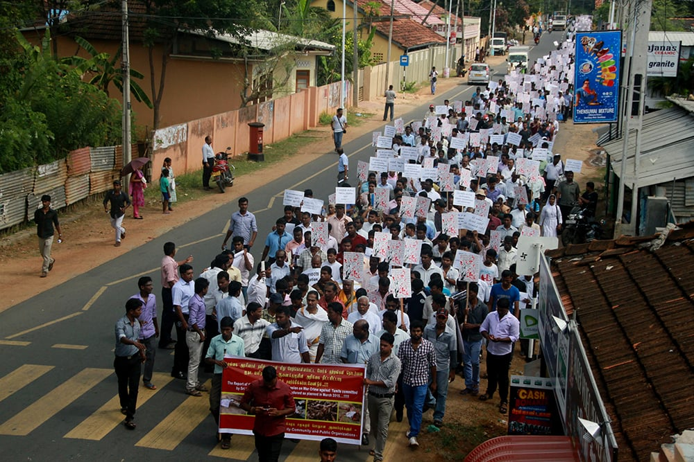 Thousands protest in Jaffna demanding an international inquiry into war crimes - February 2015. (Photo credit: Tamil Guardian)