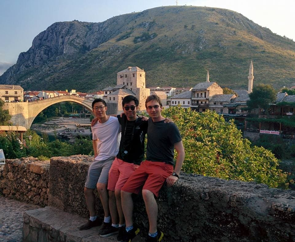 In front of the Stari Most (Old Bridge) in Mostar, Bosnia and Herzegovina.